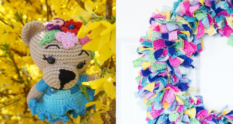 Crocheted bear amigurumi tied rag wreath