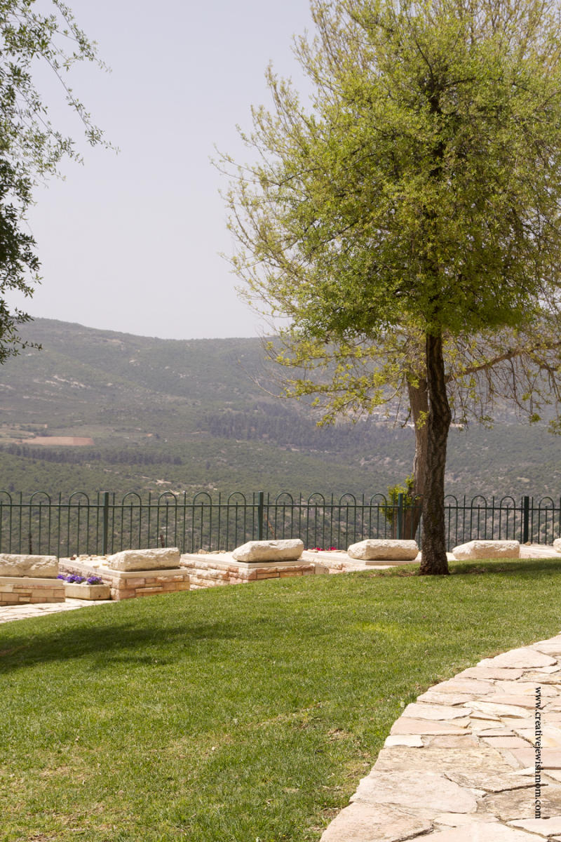 Military Cemetary In Safed with view of Mt. Meron