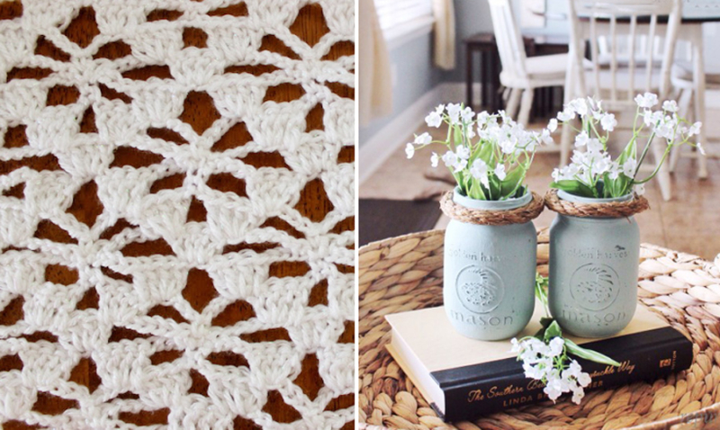 Mason jar vases crocheted floral lace stitch