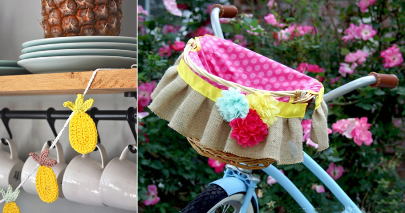 Crocheted pineapple bunting bicycle ruffled basket liner