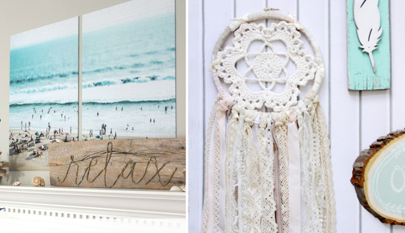 Crocheted dream catcher rope sign