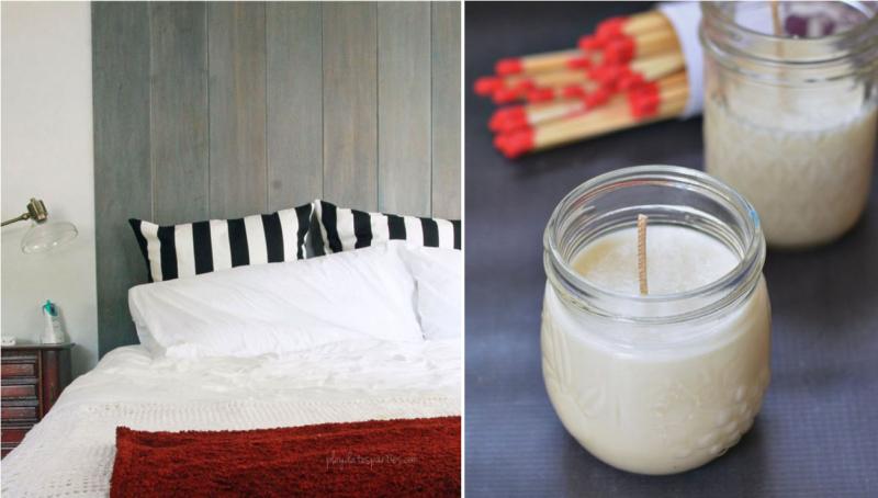Vertical shiplap headboard DIY citronella candles