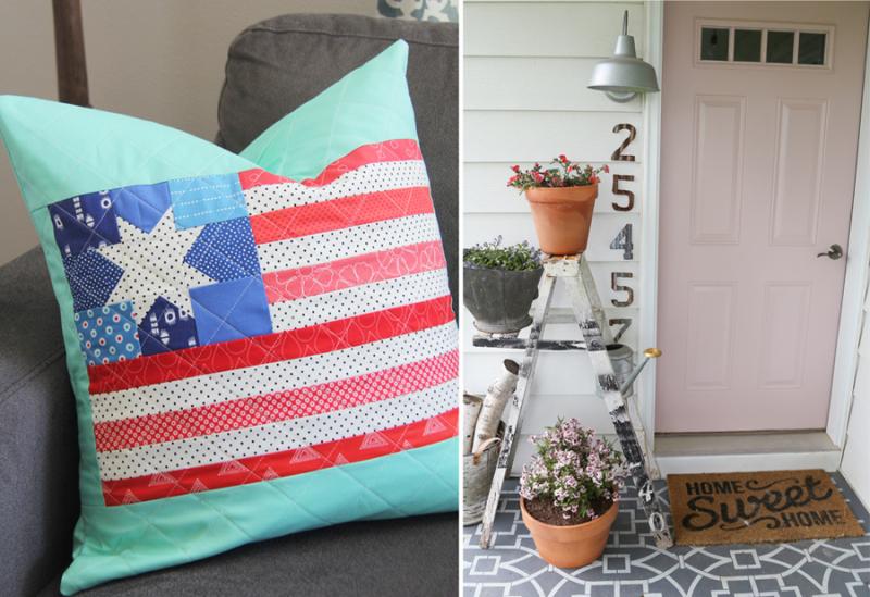 Quilt flag block pillow flower pots on front porch