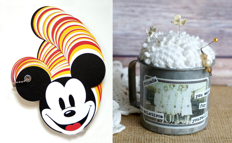 Mickey mouse autograph book tin cup pin cushion