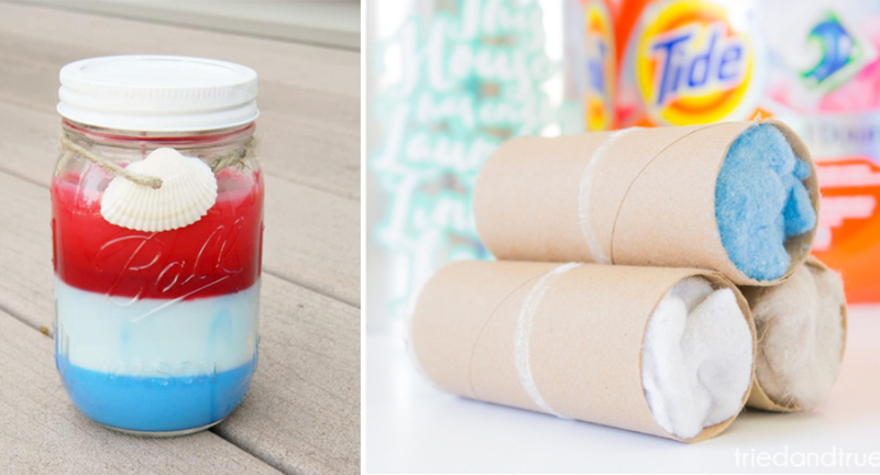 Dryer lint fire starters red white and blue mason jar candle