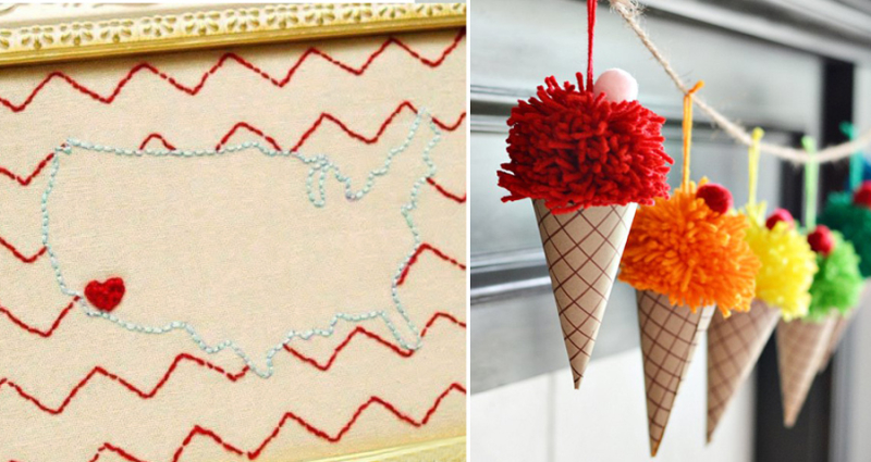 Pom pom ice cream cone garland USA map embroidery