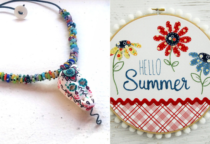 Summer embroidery hoop art mexican style fimo skull pendant