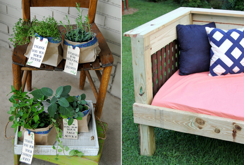 Herb pot teacher gift DIY outdoor day bed