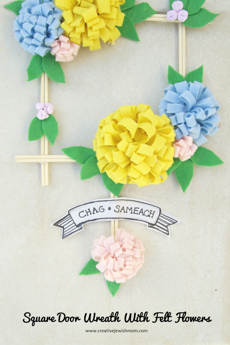 Square Wreath With Felt Flowers