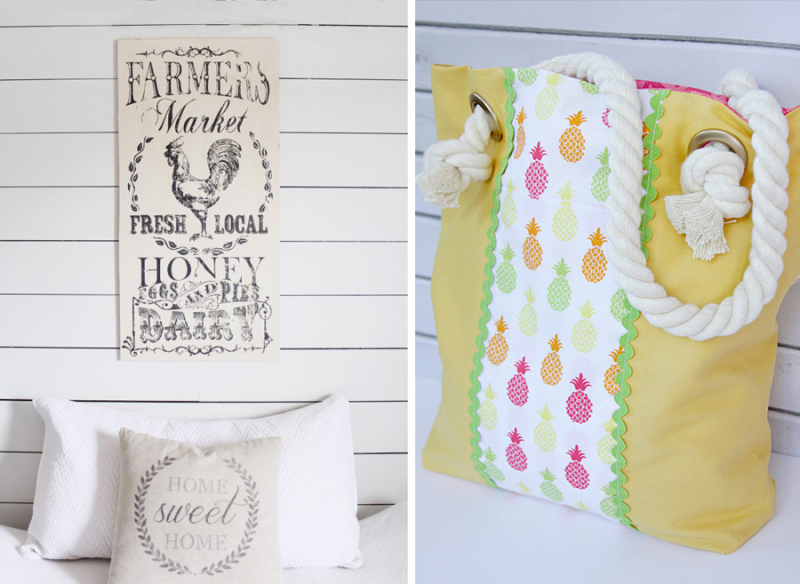 DIY summer tote bag with pineapples DIY transfer images to wood