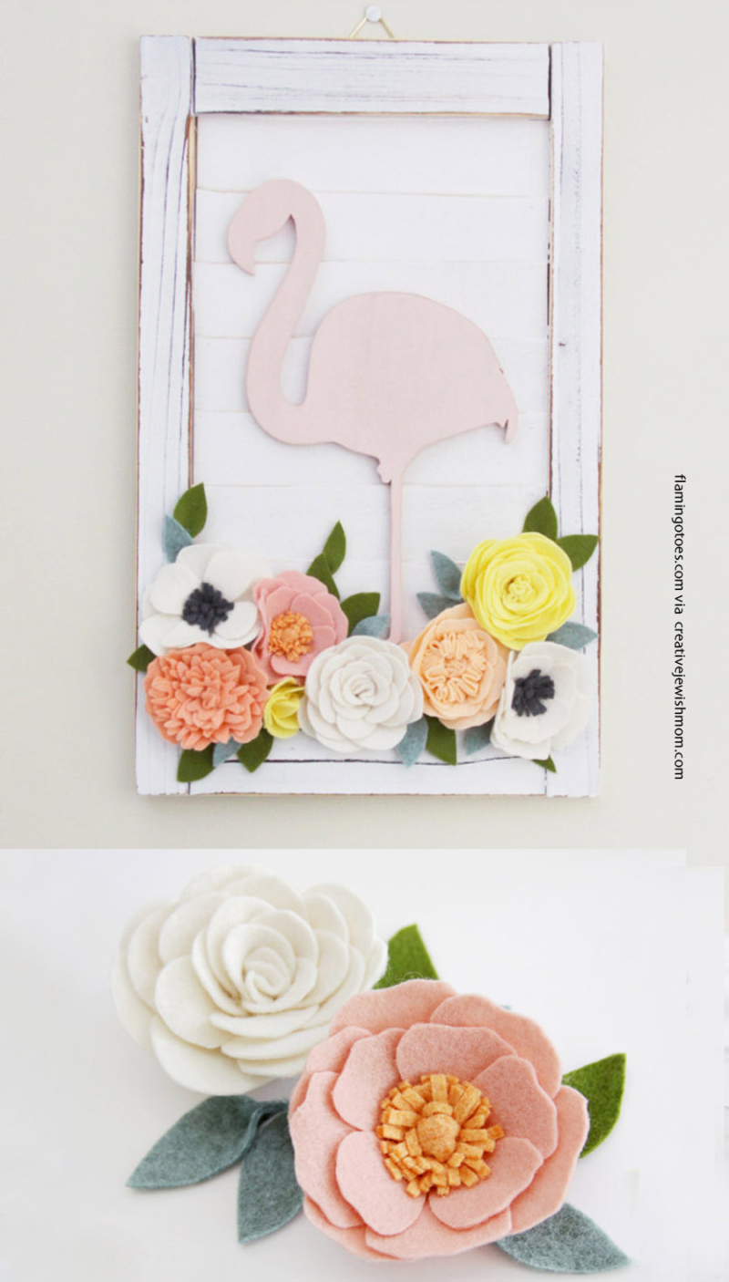 Felt flowers pretty flamingo shutter wall art with felt flowers