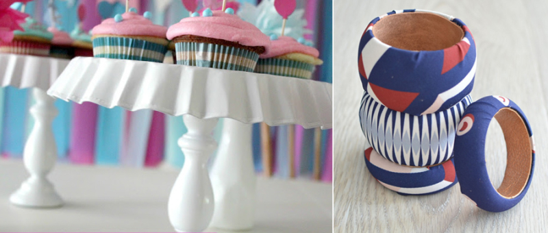 DIY cupcake stand fabric covered bangles