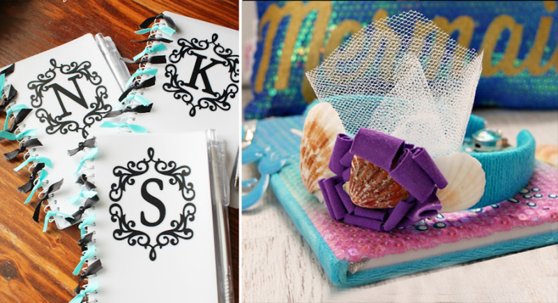 DIY mermaid headband with shells monogrammed notebooks