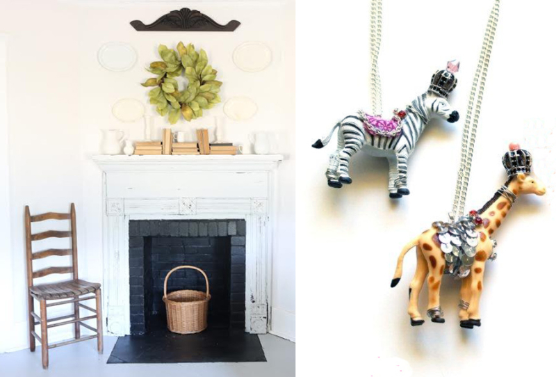 Plastic party animal necklaces country house fireplace decor