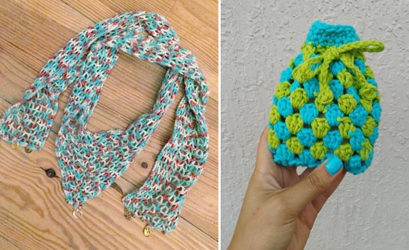 Granny stitch soap pouch crocheted net triangular scarf