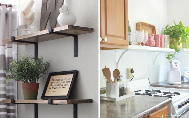 DIY white open kitchen shelves DIY open metal bracket shelves