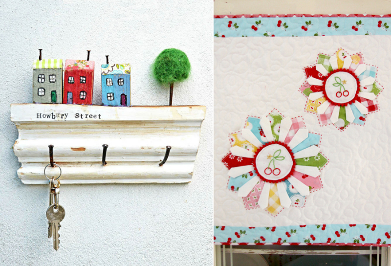 Cherry embroidery dresden mini quilt key holder with little houses