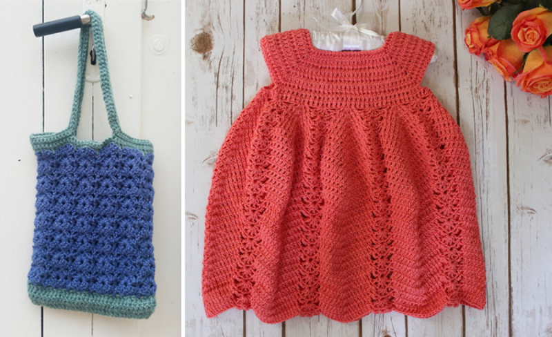 Crocheted red baby dress neck down crocheted  market bag