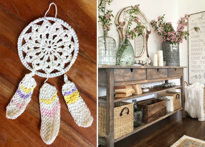 Crocheted dream catcher with crocheted feathers IKEA hack country sideboard