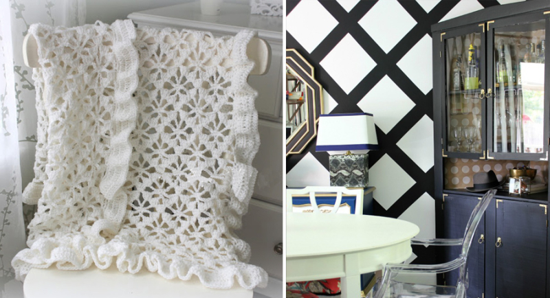 Large trellis painted wall design crocheted lacy baby blanket trellis