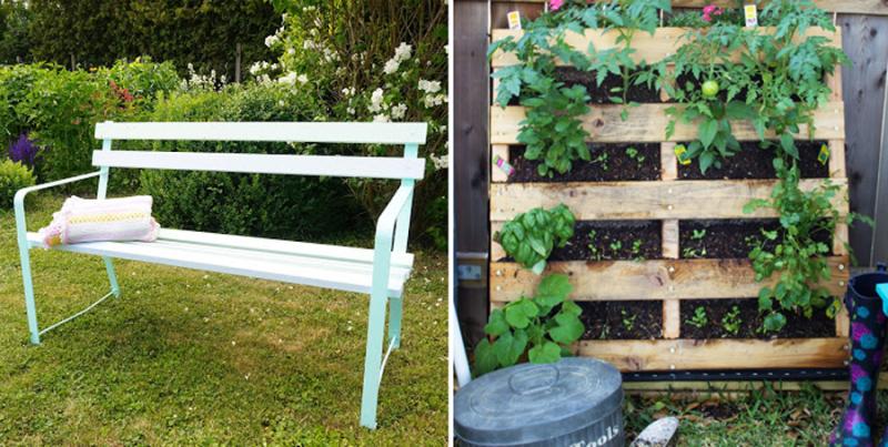 DIY palette garden  garden bench