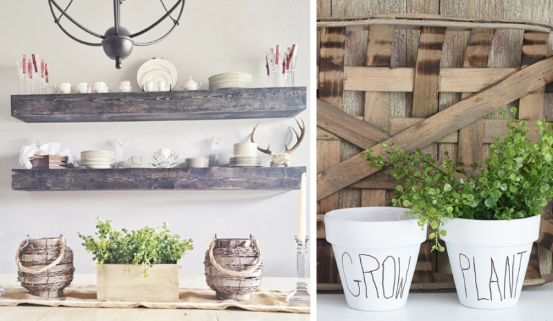 DIY floating shelves white pots with words DIY