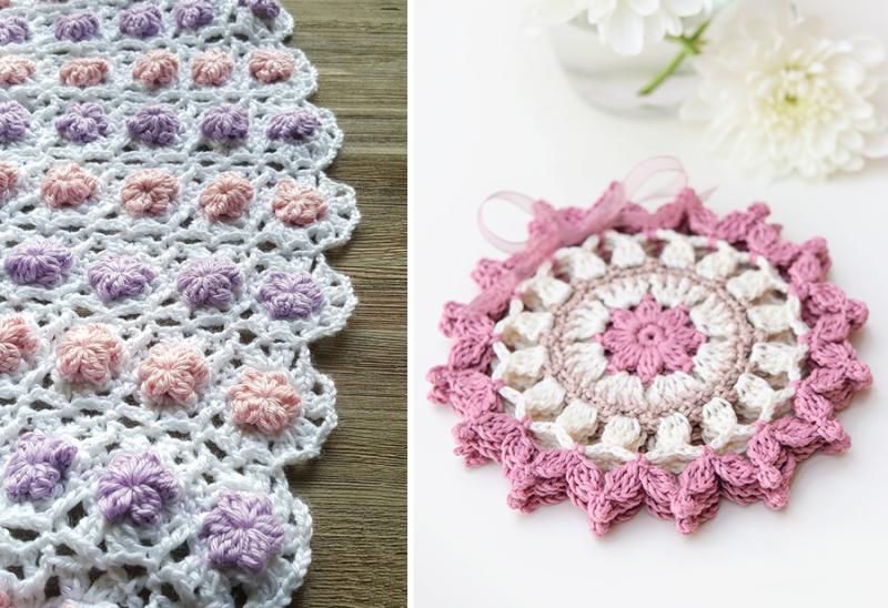 Crocheted summer coasters crocheted raised flower baby blanket