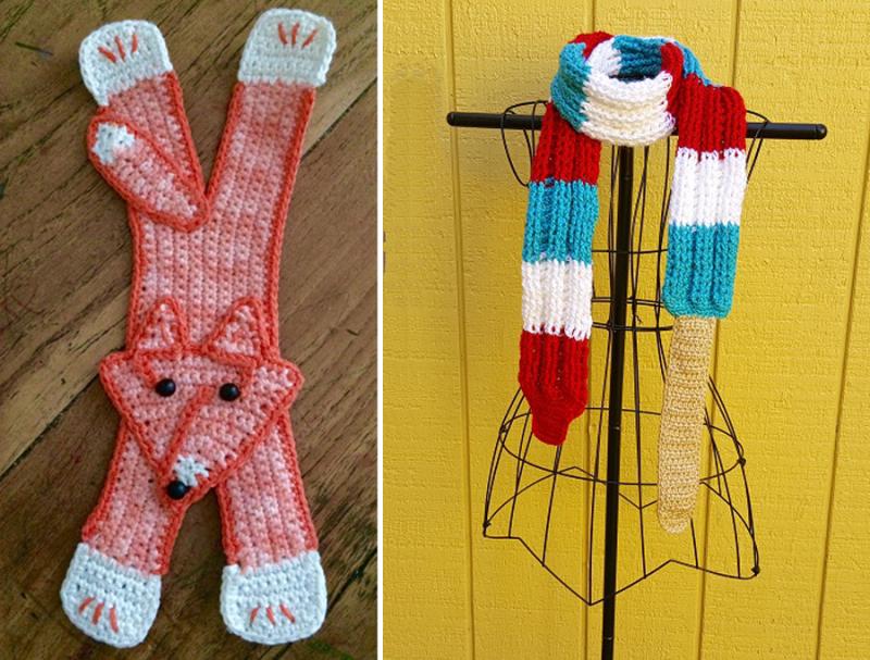 Crocheted fox bookmark crocheted rocket patriotic scarf