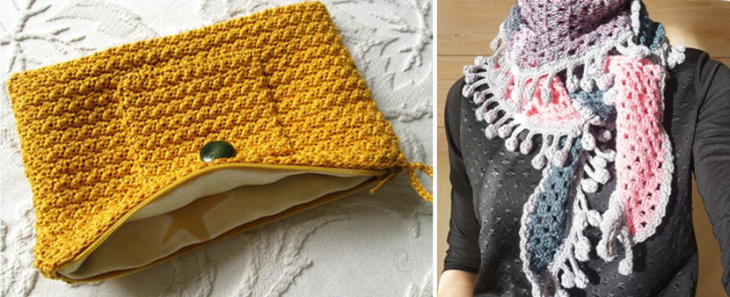 Crocheted baktus scarf with pom poms  crocheted purse with lining