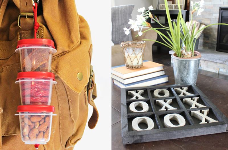 DIY tic tac toe board  DIY snack tower for trips