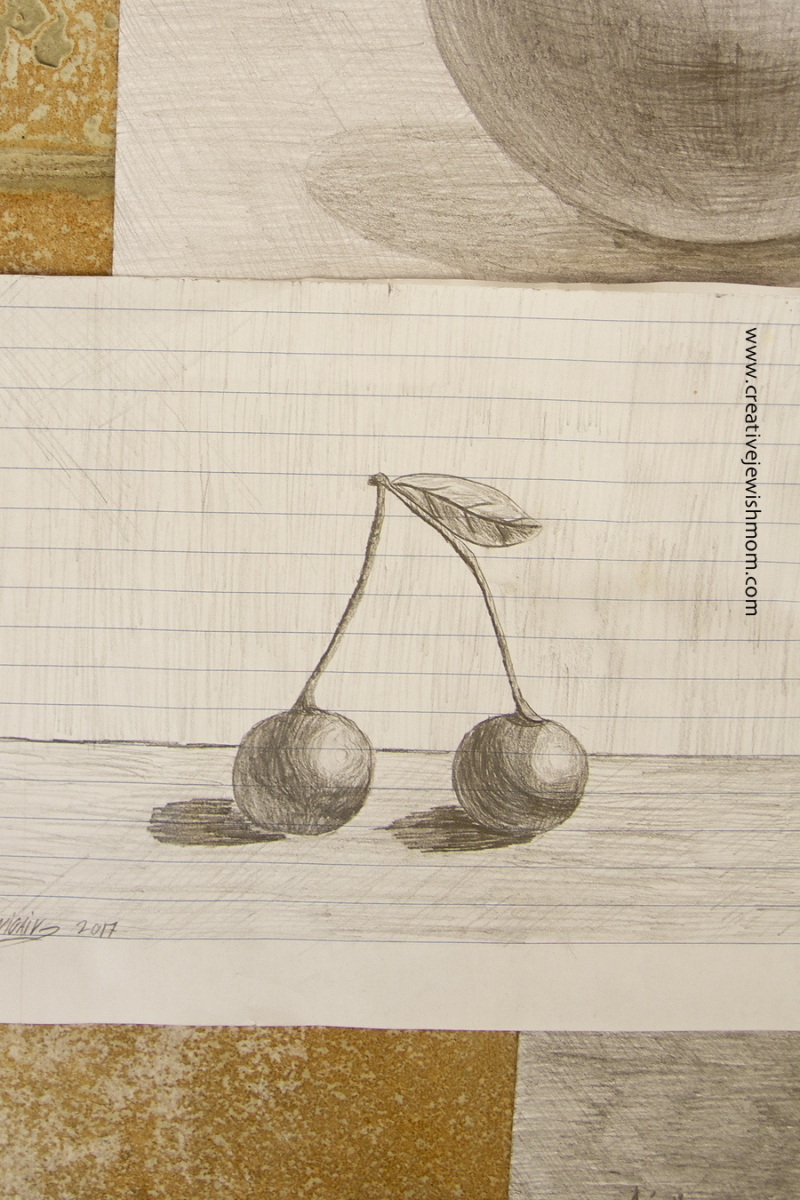 Pencil Drawing Exercise with Cherries