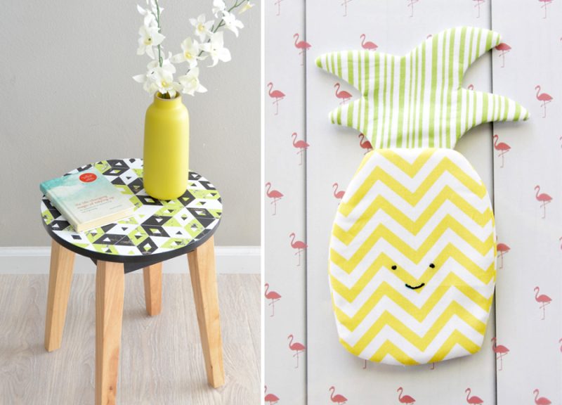 DIY pineapple zipper bag decoupage stool top