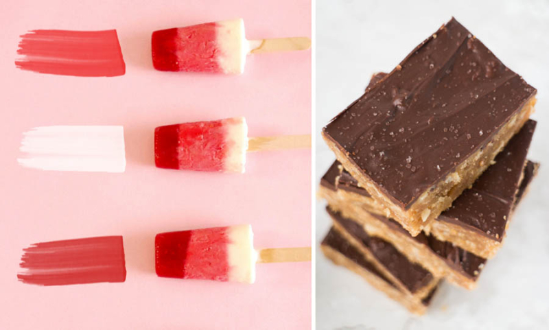 Peanut butter oatmeal chocolate bars ombre yogurt pops