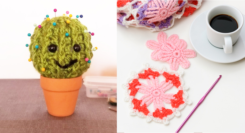 Crocheted cactus pin cushion crocheted flower hexagon