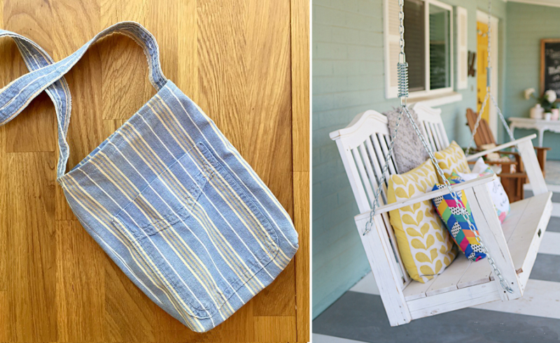 DIY porch swing from baby crib pocket purse from upcycled men's shirt