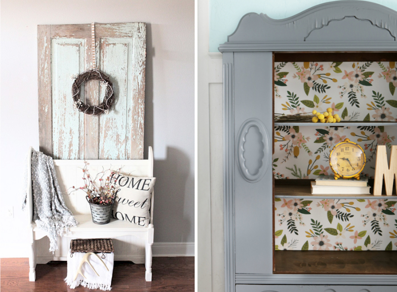 Hutch  makeover with floral paper back old door farmhouse entry