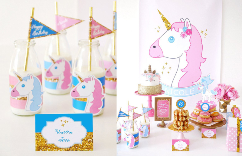 Unicorn Birthday Party Graphics And bar