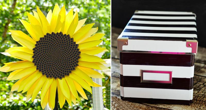DIY paper sunflower black and white striped ikea hack box