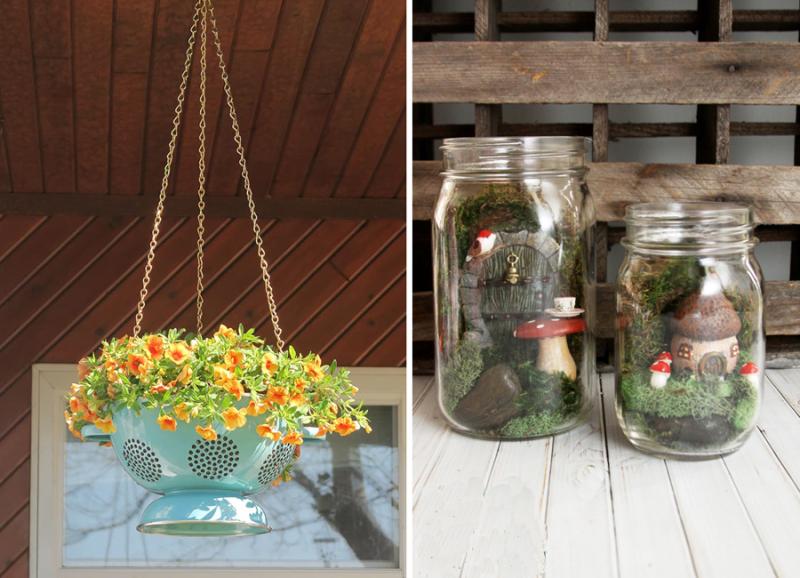 Colander hanging planter mason jar fairy garden