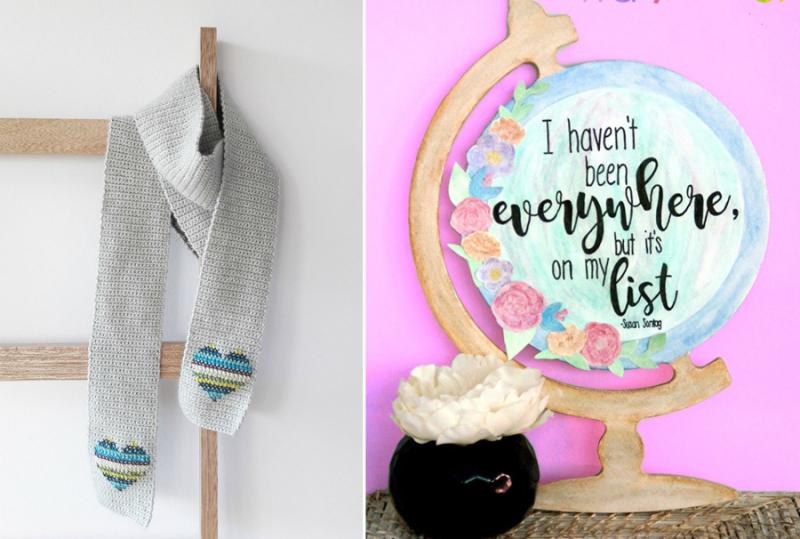 Watercolor globe cross stitch hearts scarf