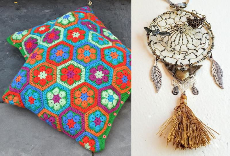 Crocheted hex flower pillow  dream catcher from metal sieve spoon