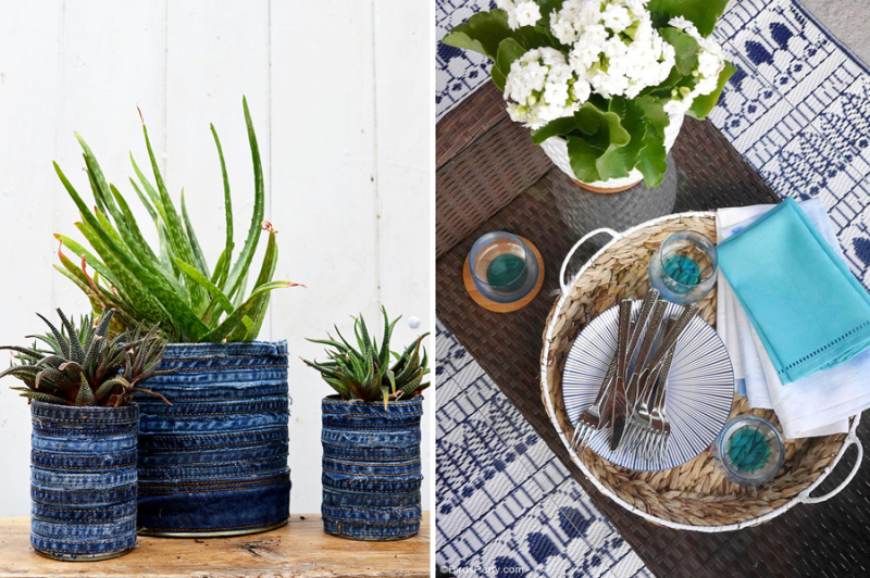 Recycled jean seam planters patio party