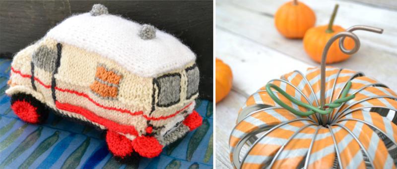 Mason jar lid pumpkin knit swedish hippy bus