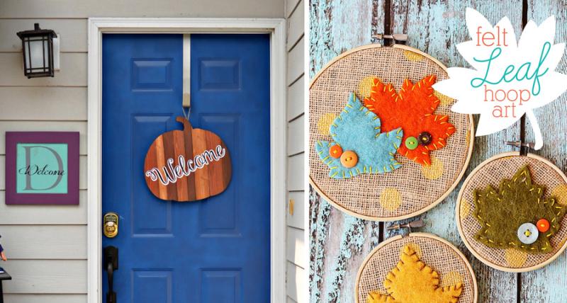 Pumpkin door sign felt leaf hoop art