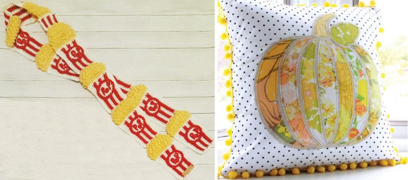 Crocheted popcorn scarf applique pumpkin pillow yellow