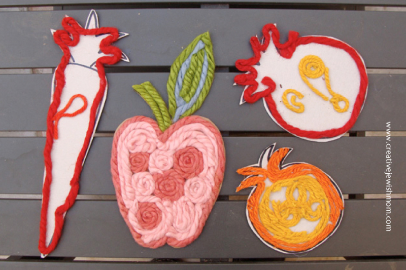 Yarn collage apple craft for kids