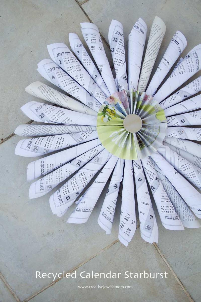 Yom Kippur Craft Recycled Calendar Page Starburst
