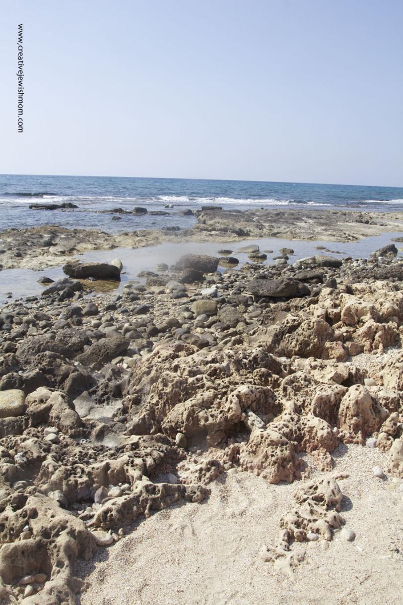 Achziv coastlow tide