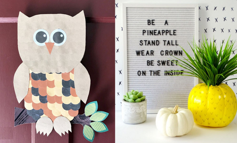 Pineapple pumpkin  paper owl door decor