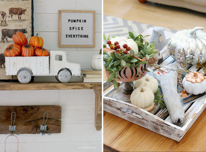 Fall entry mantle decor truck with pumpkins fall tray for coffee table